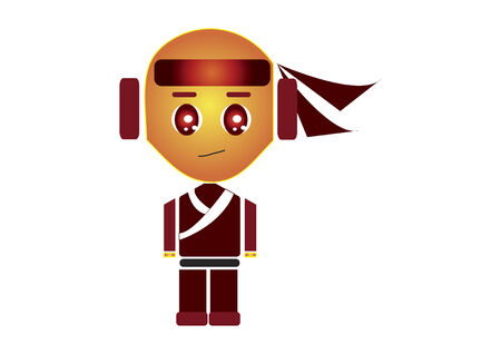 Ninja character isolated on white background