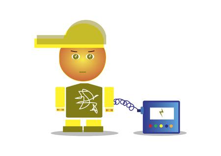自分自身を充電キャップを持つ少年