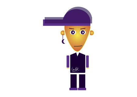solemn: Boy with purple cap and casual clothing