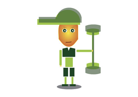 Boy with green cap working out