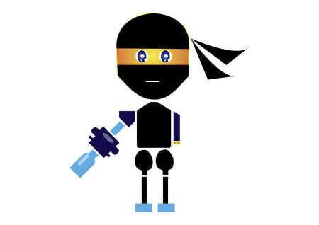 Personaje Ninja con un arma Foto de archivo - 31796089