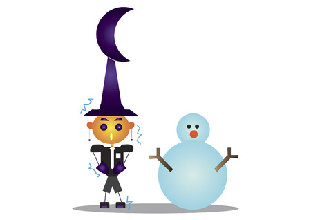 freezing: Freezing wizard with a snowman
