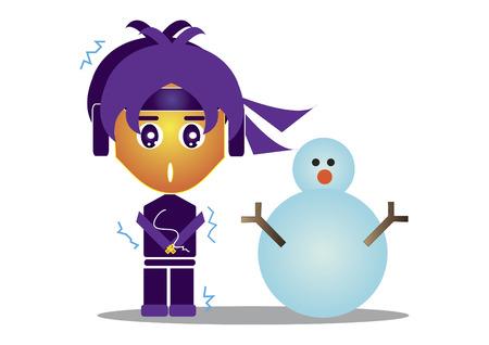 忍者の雪だるまを凍結