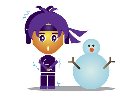 Freezing ninja with a snowman