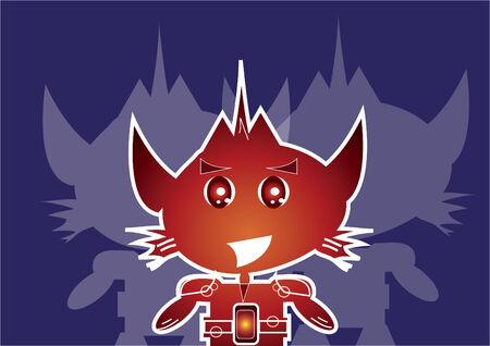 デュアル シャドウとロボットのキャラクター  イラスト・ベクター素材