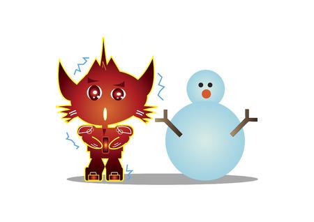雪だるま猫のようなロボットのキャラクター  イラスト・ベクター素材