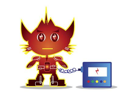 猫のようなロボットのキャラクター自体を充電