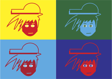 Icons of boy wearing a cap Illustration