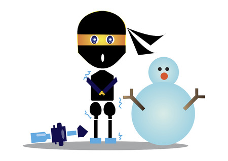 Freezing ninja standing beside a snowman