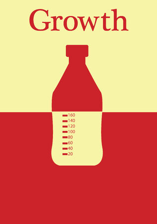 Milk bottle in a dual colored background