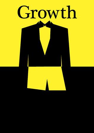 formalwear: Concepto de ni�o que crec�a para ser un hombre a trav�s de los pantalones cortos y un traje