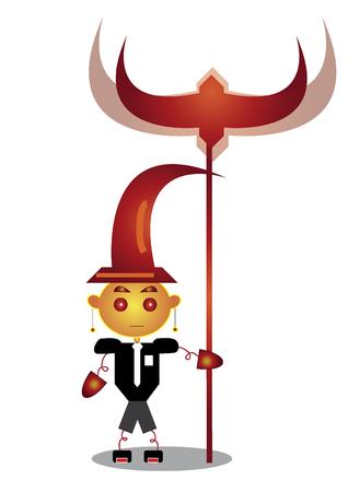 Personaje del mago con un personal Foto de archivo - 31807498
