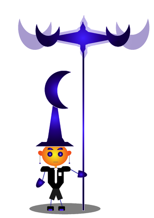 Wizard character with a staff 向量圖像