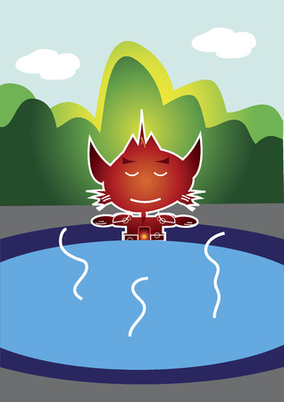 Cat-like robot character relaxing in hot spring