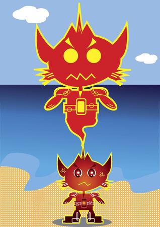 その精霊と猫のようなロボットのキャラクター