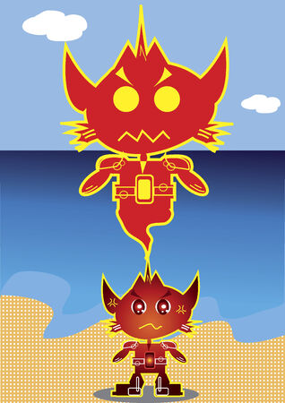 Cat-like robot character with its genie Illustration