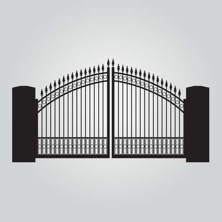 Vector fence silhouette set isolated. Iron and brick fence decorative shape collection. Architecture gate and fence objects