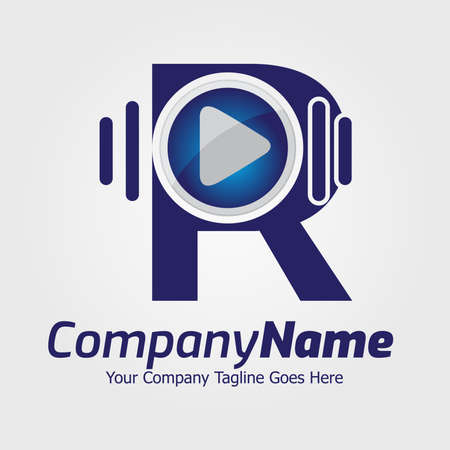 Colorful Letter R logo, Creative Letter R logo design template elements, R letter best design, alphabet logo design, 3D media play logo design, audio music
