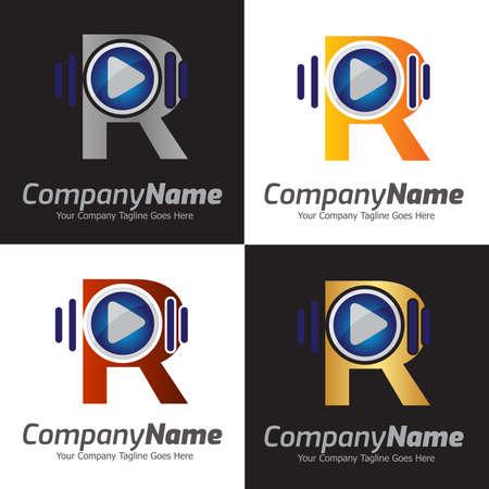 Colorful Letter R logo, Creative Letter R logo design template elements, R letter best design, alphabet logo design, 3D media play logo design, audio music Logo