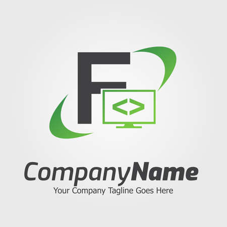 Programming code and computer monitor logo template. Coding school vector design. Computer science logotype