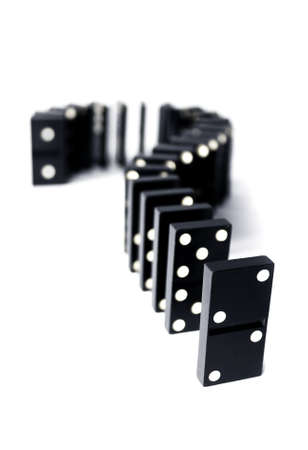 Pieces of domino in shape of question symbol. Isolated Stock Photo - 13579065