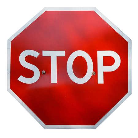 se�ales de precaucion: Red parada realista se�al de tr�fico aislados en blanco