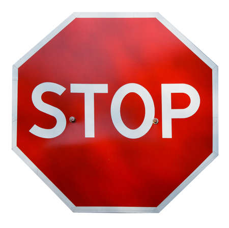metal sign: Red realistic stop road sign isolated on white