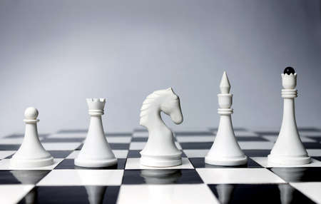 Career Opportunities presented in chess pieces on board  Stock Photo