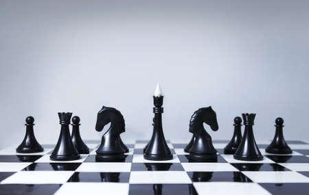 chess board: Black chess team Stock Photo