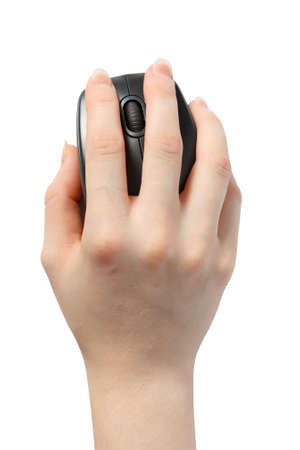 mouse: PC mouse in a womans hand