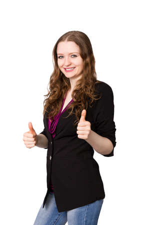 Smiling business woman shows thumbs-up-sign Stock Photo