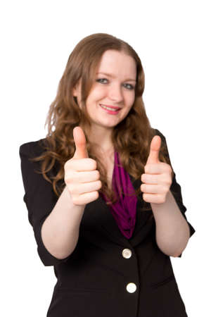 Office worker shows double thumbs-up