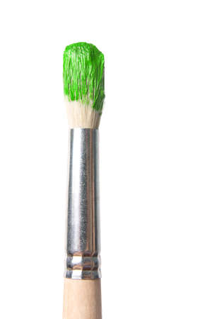closeup of a brush with paint Stock Photo
