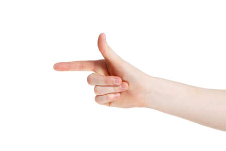 man points by his finger Stock Photo