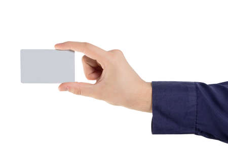hand holding a card isolated Stock Photo