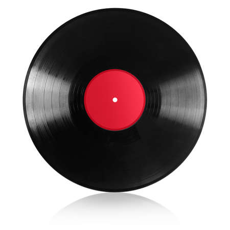 vinyl record with red label isolated