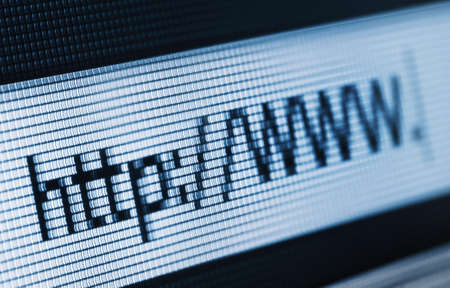 Closeup of Http Address in Web Browser in blue Stock Photo