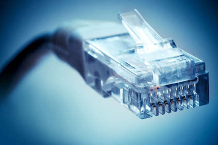 Ethernet cable on a blue background