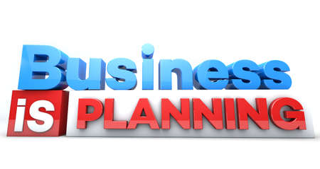 3D words Business is planning Stock Photo