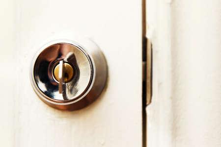 Close wooden white door