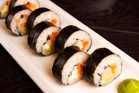Japanese seafood sushi , roll on a plate Stock Photo