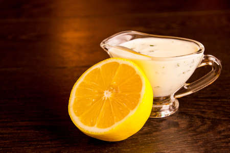 Honey-lemon sauce for marinating poultry, selective focus