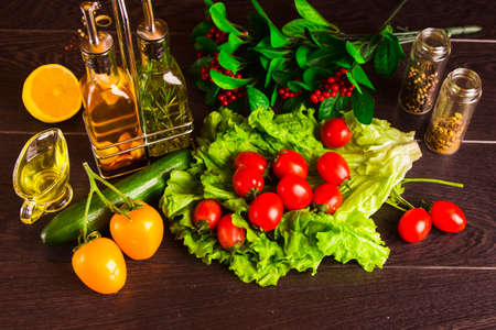 cooking background dark table Stock Photo