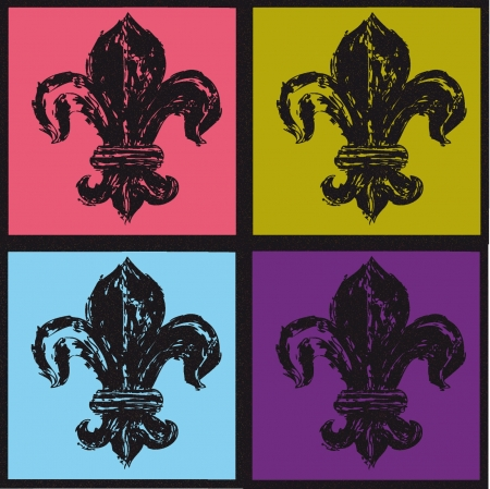 Vectors of fleur de Lys on different colored background