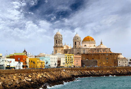 Dramatic view of the Dome of Cadiz and seaside at the evening, Andalusia, Spain photo