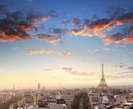 love dome: Aerial View of Paris skyline and Eiffel tower, France. Business and travel concept