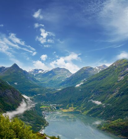 fjord: Geiranger fjord, Norway. Travel background