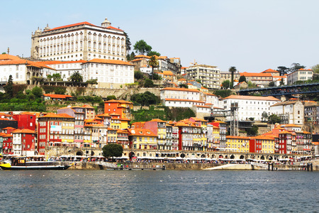 douro: Colorful background, view of Douro riverside, Porto, Portugal. Travel background Stock Photo