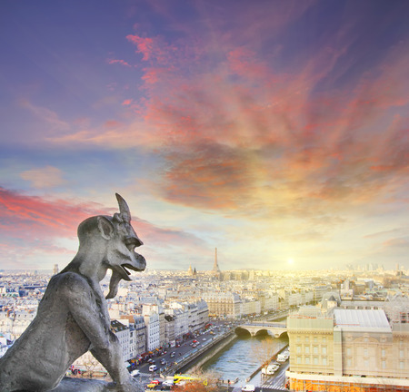 medeival: Gargoyle of Notre Dame Cathedral with roof of Paris on a background. Vintage picture Stock Photo
