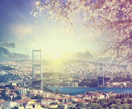 Bridge over Bosporus at spring sunset, Istanbul, Turkey. Vintage colored picture. Business, Love and travel concept